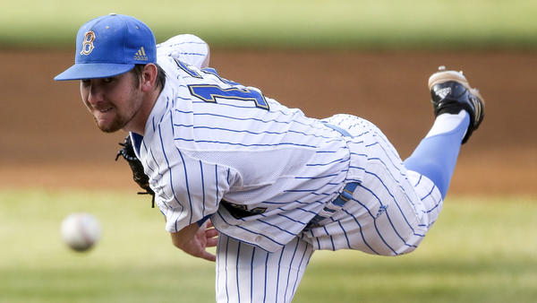 UCLA pitcher Grant Watson delivers against San Diego during the first inning.