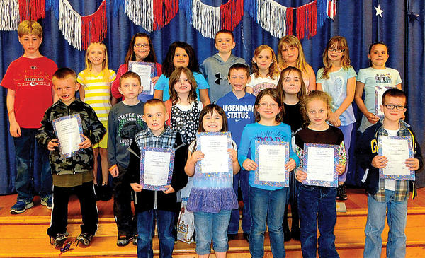Clear Spring Elementary School hosted its fifth Golden Table luncheon of the school year on April 25. Front row, from left, John Crawford, Alyssa Staley, Shelby Johnson, Grace Shoemaker and Samuel Stonebraker. Middle row, Jacob Faith, Braydon Obitts, Nadalie Miller, Christopher Alvarez and Daileah Ramirez. Back row, Matthew (Max) Sullivan, Serenity Anderson, Madison Hull, Kaylynne Long, Garrett Summers, Caton Snyder, Asalee Mitchell, Allison Eversole and Rita Palmer. Luncheons are coordinated by JoAnn Schiller, school couselor. Shari Palm is principal.