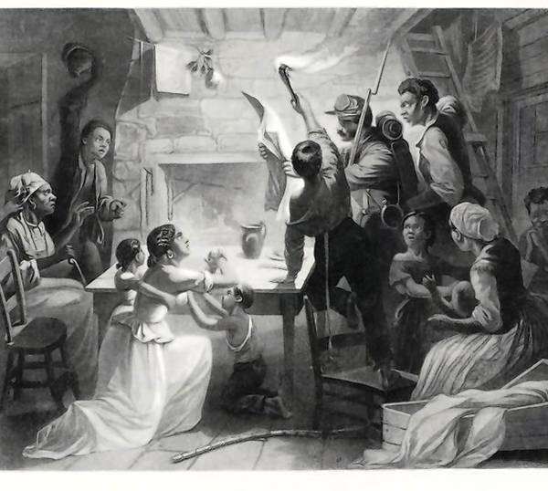Engraving: H. W. Herrick and J.W. Watts for S. A. Peters & Co., Hartford, Connecticut Reading the Emancipation Proclamation, 1864. The Amistad Center for Art & Culture; Simpson Collection 1987.1.267