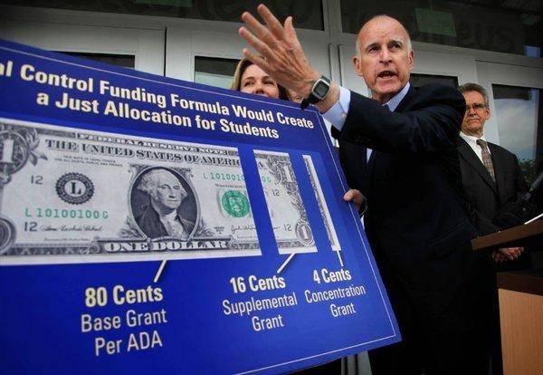 Gov. Jerry Brown held a news conference last month at Humphreys Avenue Elementary School to discuss the importance of redistributing education money.