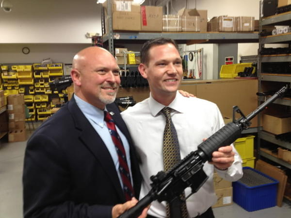 South Carolina state representative Alan Clemmons, left, with Stag Arms President & CEO Mark Malkowski.