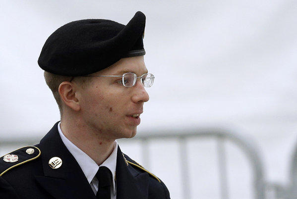 The court-martial against Army Pfc. Bradley Manning, shown before a pretrial military hearing, began Monday.