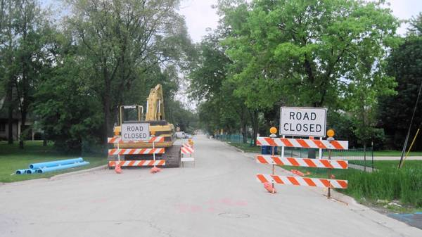 North County Line Road is closed for road work in Hinsdale.