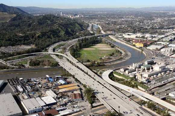 Aerial view looking west over Glendale toward Los Angeles and Burbank at the intersection of 134 Freeway and Interstate 5.