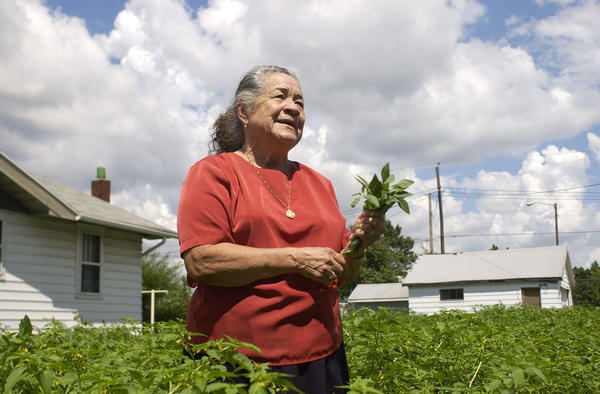 Magdalena Lopez, who died last week at age 88, is shown in this 2003 file photo as she tours her abundant garden of tomatillos in South Bend. She would offer them to friends and those who down on their luck. (South Bend Tribune File Photo/SHAYNA BRESLIN)