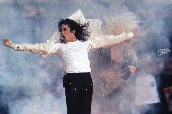 Michael Jackson performs during the halftime show at the 1993 Super Bowl in Pasadena.