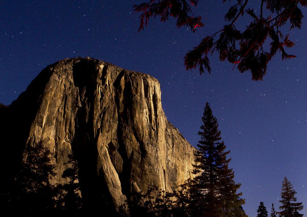 El Capitan stands about 3,000 feet above the Yosemite Valley floor.