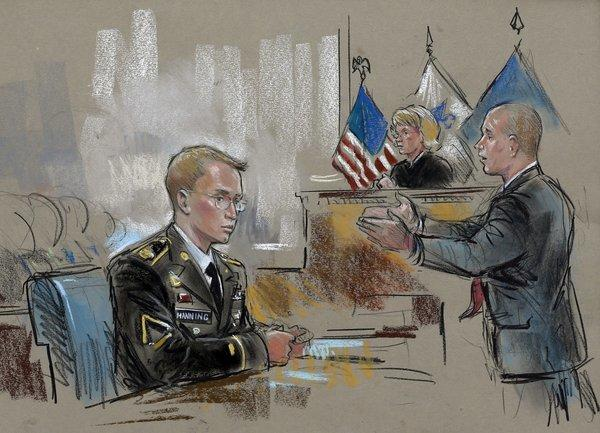 In this courtroom sketch, Bradley Manning watches as his chief defense attorney, David Coombs, speaks in front of military judge Army Col. Denise Lind on the opening day of Manning's court-martial in Fort Meade, Md.