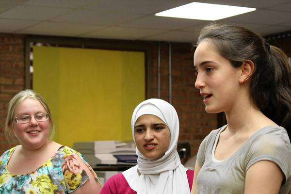 Left to right: Abigail Hunt, Batool Al-bdour of Jordan, and Maya Garfinkel.