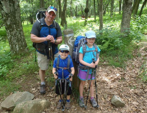 Author Jeff Alt and his kids, Wilam and Madison, hiking in the Shenandoah National Park in Virginia.