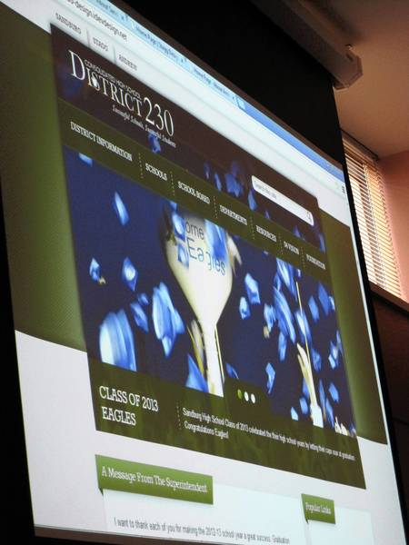 A preview of Consolidated High School District 230's new websites were presented at the May 30 board meeting.
