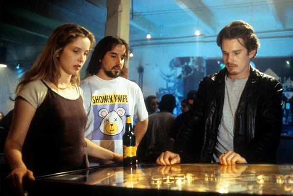"""Before Sunrise"" stars Julie Delpy and Ethan Hawke, right, between scenes with director Richard Linklater."