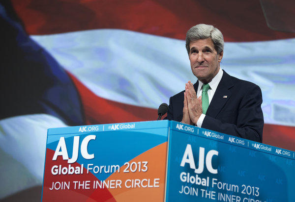 Secretary of State John F. Kerry speaks at the American Jewish Committee Global Forum in Washington.