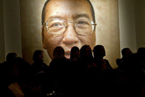 A picture of Liu Xiaobo is seen inside the Nobel Peace Center on the day of The Nobel Peace Prize ceremony in Oslo, Norway.