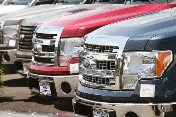 Sales of Ford's F-Series truck rose 30.6% during May to nearly 72,000, leading all vehicles of any type. Above, trucks for sale in Melrose Park, Ill.