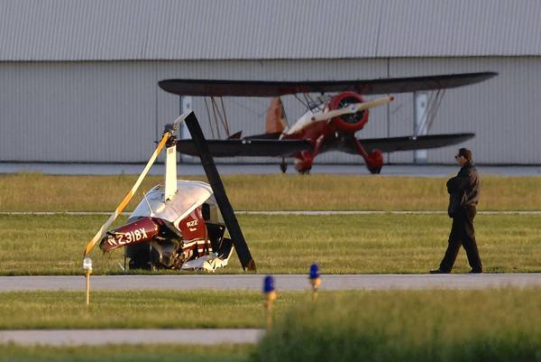 Helicopter crash at Lansing Airport during a training exercise.