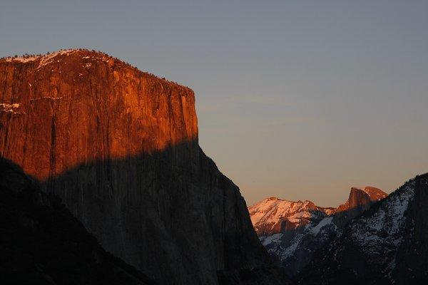 El Capitan, left and Half Dome, far right, in Yosemite National Park. El Capitan stands about 3,000 feet above the Yosemite Valley floor.