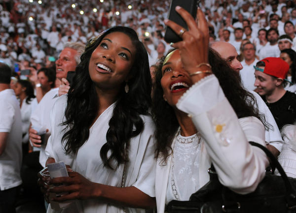 Dwyane Wade's girlfriend Gabrielle Union attends Game 7 between the Heat and the Pacers.