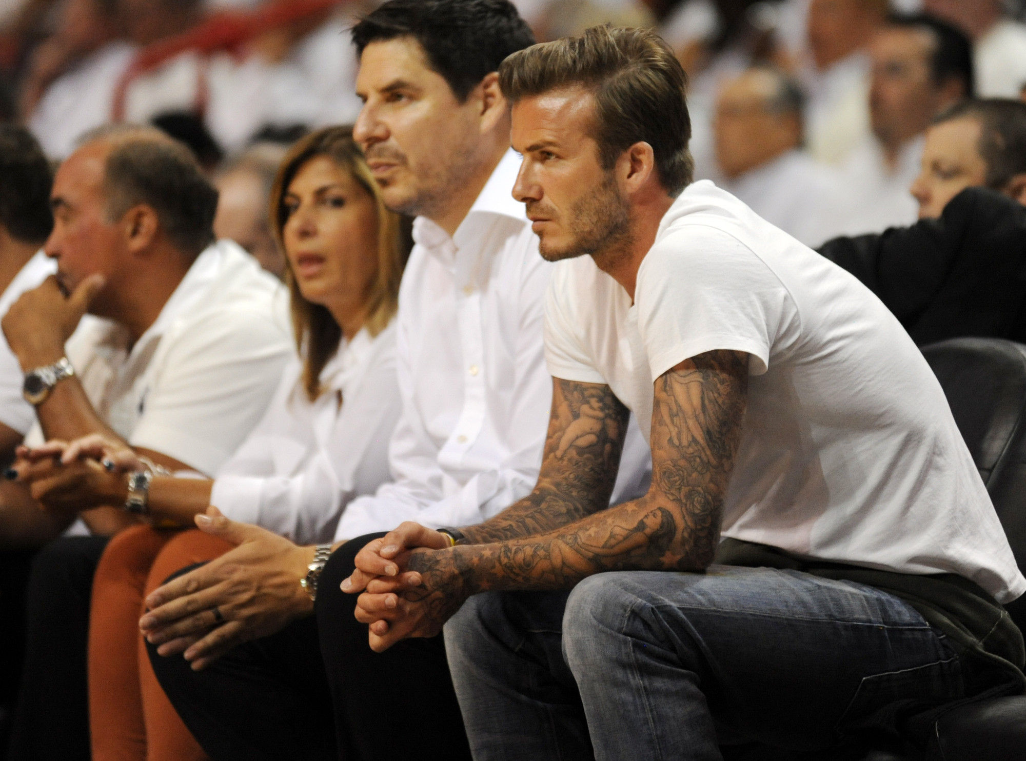 Celebs spotted at Miami Heat games - David Beckham