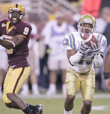 UCLA Bruins cornerback Trey Brown (23) intercepts a pass against the Arizona State Sun Devils in the first quarter at Sun Devil Stadium in Tempe, Arizona.