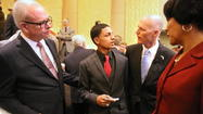 Colonial distance runner Andres Arroyo talks with Florida Gov. Rick Scott, with University of Florida President Bernie Machen, left, and Orange County Public Schools Superintendent Barbara Jenkins watching. (Joe Burbank, Orlando Sentinel)