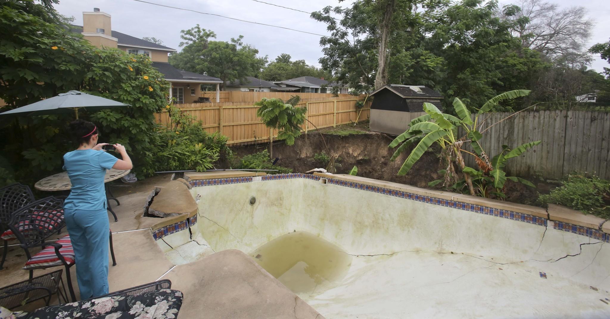 raw video sinkhole destroyed winter park pool backyard sun