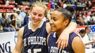 Hannah Schaible, left, and Sydnei McCaskill walk off the court after Dr. Phillips beats Palm Beach Gardens Dwyer in a Class 8A state girls basketball semifinal. (Joshua C. Cruey, Orlando Sentinel)