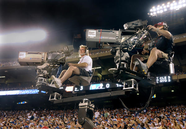"ESPN's HD cameras capturing the action for ""Monday Night Football."""