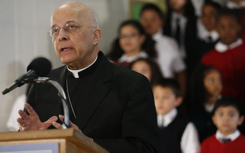 "Cardinal Francis George, at St. Stanislaus Kostka School in Chicago, talks about the ""To Teach Who Christ Is"" campaign that will support Catholic education and faith in the Archdiocese of Chicago. George announced that $82.5 million has been raised, about 24 percent of the $350 million goal."
