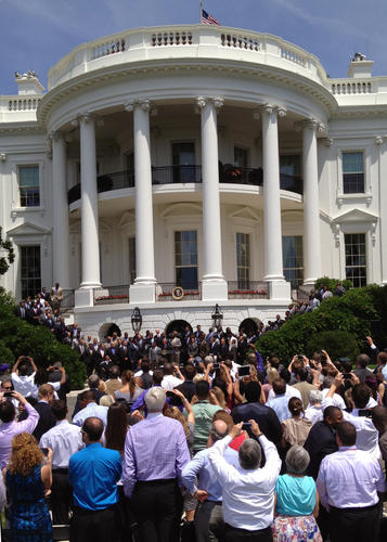 President Barack Obama welcomes the Ravens to the White House.