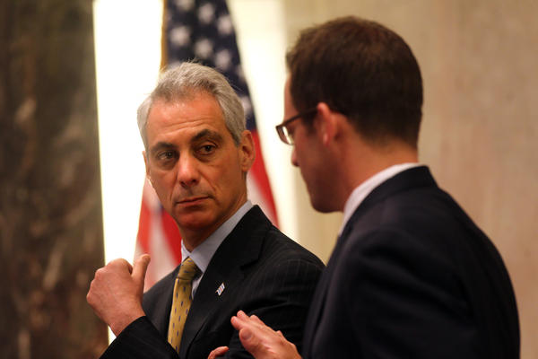 """Mayor Rahm Emanuel and Ald. Proco """"Joe"""" Moreno, 1st, confer during the City Council meeting today"""