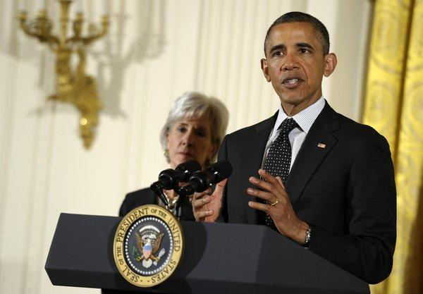 President Obama speaks Monday at the opening of the National Conference on Mental Health as Health and Human Services Secretary Kathleen Sebelius looks on.