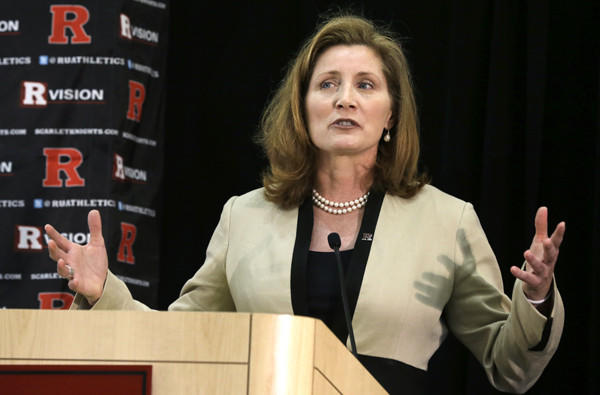 Julie Hermann speaks during an introductory news conference at Rutgers last month.