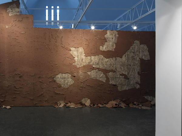 William Pope.L, Curtain, 2013, Wall faced with ketchup and joint compound, sheetrock, oriented strand board, paint, window and curtain