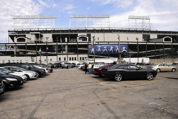 The triangle lot along Clark Street at the west side of Wrigley Field.