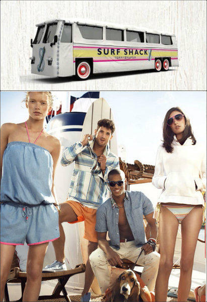 Tommy Hilfiger's mobile pop-up, top, will be touring the U.S. to promote a new sand-and-surf-inspired capsule collection (bottom). It is scheduled to roll into Venice on June 22 and 23.