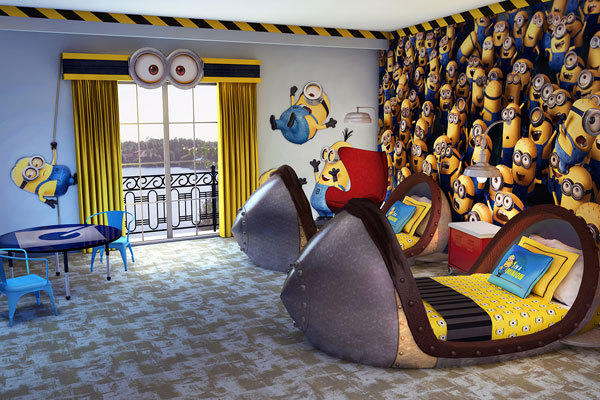 "18 kids' suites at Loews Portofino Bay Hotel are being renovated to feature a theme based on the movie ""Despicable Me"" at Universal Orlando."