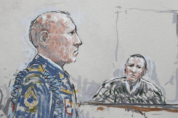 In this detail from a courtroom sketch, U.S. Army Staff Sgt. Robert Bales, left, stands before military judge Col. Jeffery Nance during a plea hearing in a military courtroom at Joint Base Lewis-McChord in Washington state. Bales pleaded guilty to killing villagers in Afghanistan.