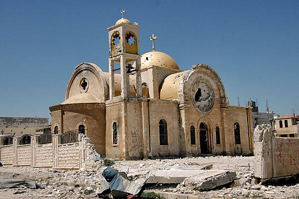 A damaged church in Qusair, Syria. In a major setback to rebels, the strategic town was retaken by government forces.