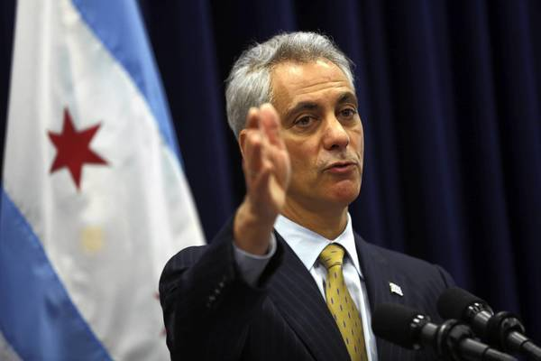 Mayor Rahm Emanuel speaks to the media after Wednesday's City Council meeting.