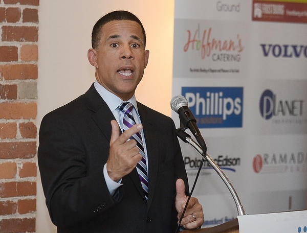 Maryland gubernatorial candidate and Lt. Gov. Anthony Brown speaks Wednesday at a luncheon organized by the Hagerstown-Washington County Chamber of Commerce.