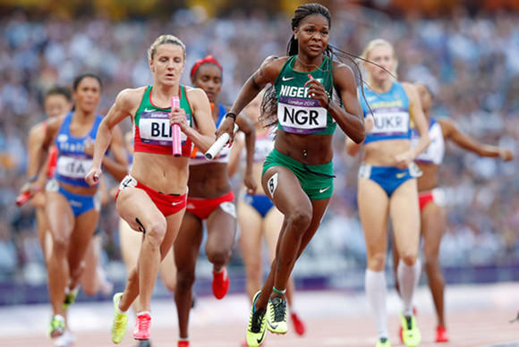 Arkansas' Regina George, a Chicagoan, competing for Nigeria at the 2012 Olympics. Wednesday, she won a semifinal at the NCAA Championships.