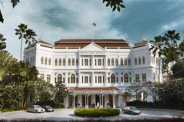 "Work by Malaysian artist Yusof Ghani, including this piece called ""Raffles Hotel Singapore Facade,"" is featured at the hotel. Nine Raffles hotels are featuring local works."