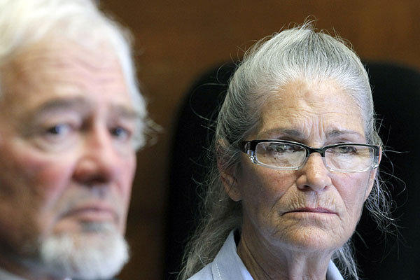 Leslie Van Houten at her parole hearing Wednesday with her attorney, Michael Satris.