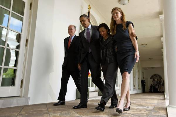 With the departure of Thomas Donilon, left, the president named Susan Rice as national security advisor and Samantha Power, right, as U.N. ambassador.