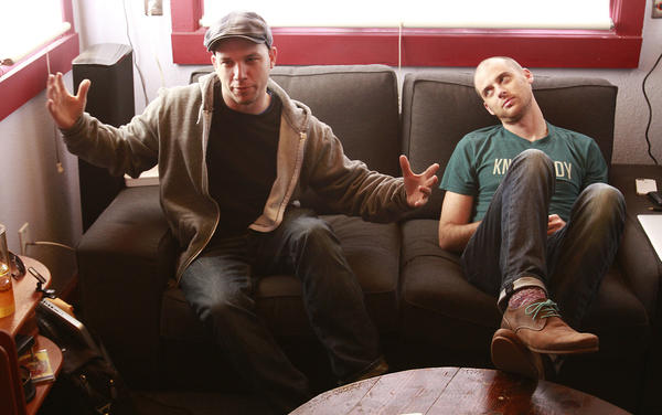 """Lloyd Ahlquist (left) and Peter Shukoff, creators of """"Epic Rap Battles of History,"""" met in Chicago."""