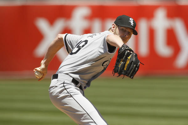 White Sox starter Chris Sale delivers a pitch against the Athletics in the first inning at O.Co Coliseum.