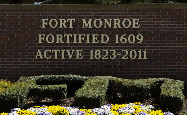 The front gate sign at Fort Monroe.