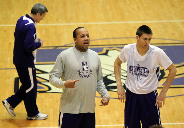 Northwestern assistant coach Tavaras Hardy during a team practice at Welsh-Ryan Arena in 2011.