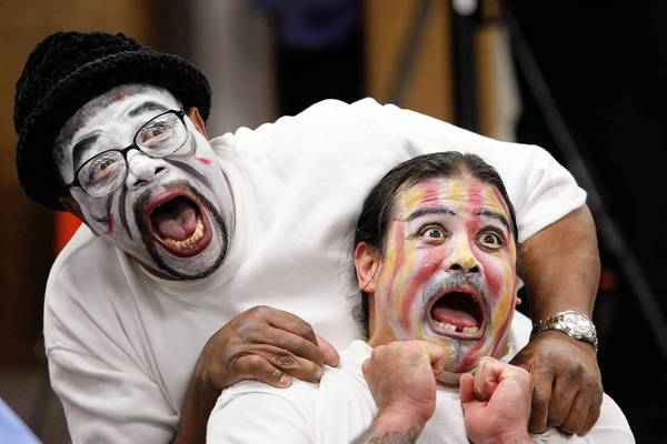Charles, left, and Carlos act in a graduation performance at the California Rehabilitation Center in Norco. They had taken part in the eight-week Actors' Gang Prison Project.